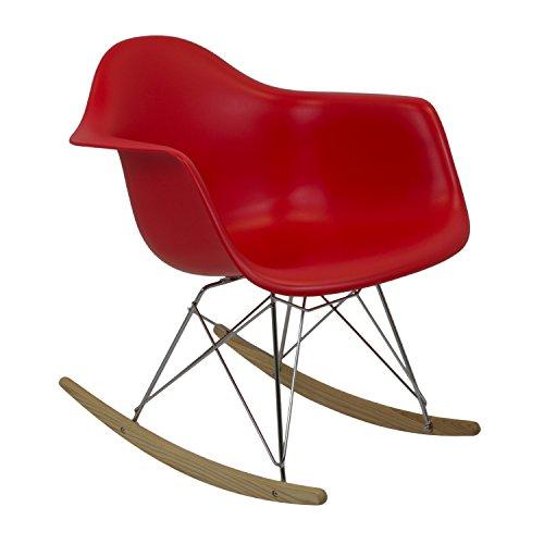 Vaukura Silla Eames - Silla Mecedora Tower Rojo