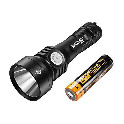 Manker U22 II 850 Lumens 1020 Meters Pocket Ultra-Throw Flashlight with OSRAM NM1 LED, Type-C USB rechargeable Port, USB Type C Charging Cable, Type-C/USB OTG Cable, 21700 Battery Included