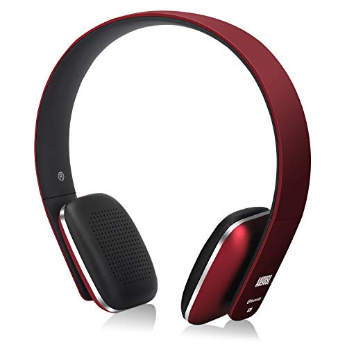 August EP636 Bluetooth Headphones - Red - On Ear Wireless Headset with Mic & Bluetooth V4.1