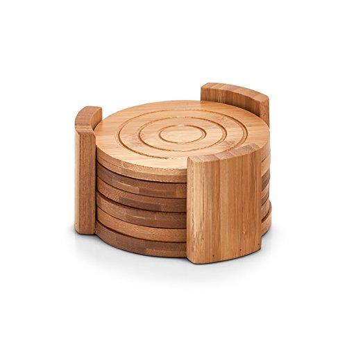 Zeller 25378sottobicchieri in Vetro sottobicchieri, Set da 7PZ, bambù, bambù, Naturale, 12.7x 12.7x 7cm, 7unità