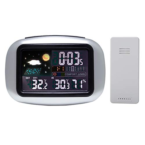 Aquarobo Weather Station with Outdoor Sensor, Wireless Digital Color Display, with Temperature/Humidity/Barometer/Alarm/Weather Clock, for Indoor Outdoor