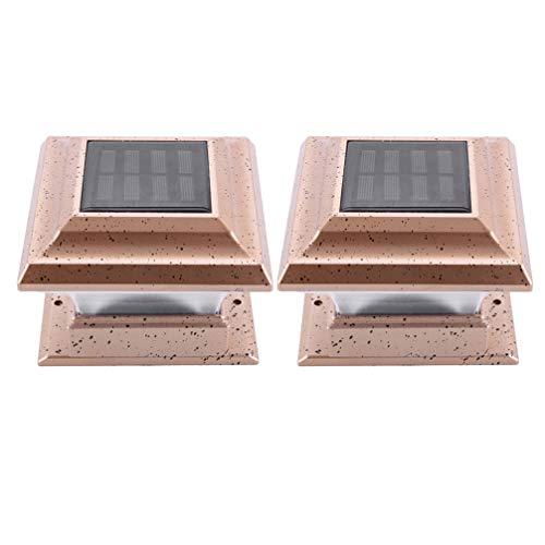 Mobestech 2 Stuks Zonne-Post Verlichting Buiten Zonne-Energie Pilaar Lamp Waterdichte Hek Verlichting Voor Muur Dek Villa Tuin Patio