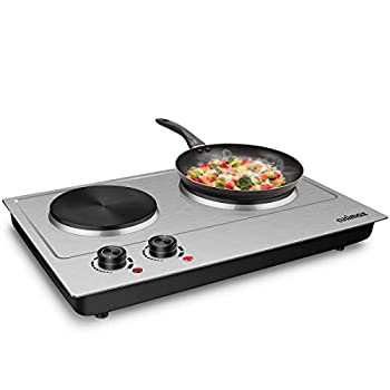 CUSIMAX 1800W Double Hot Plate Stainless Steel Silver Countertop Burner Portable Electric Double Burners Electric Cast Iron Hot Plates Cooktop Easy to Clean Upgraded Version C180N