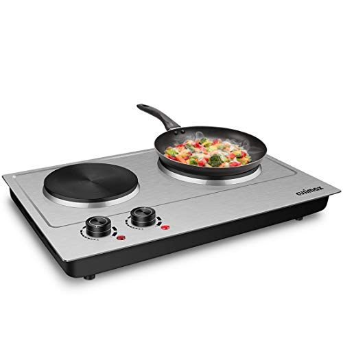 CUSIMAX 1800W Double Hot Plate, Stainless Steel Silver Countertop Burner Portable Electric Double Burners Electric Cast Iron Hot Plates Cooktop, Easy to Clean, Upgraded Version C180N