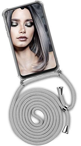 ONEFLOW® Handykette kompatibel mit Samsung Galaxy A50 / A30s - Handyhülle mit Band zum Umhängen Case Abnehmbar Smartphone Necklace - Hülle mit Kette, Silber Hell-Grau