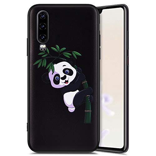 QPOLLY Compatible avec Coque Huawei P30 en Silicone Mat Noir avec Motif Animal Mignon Housse Etui de Protection Anti-Rayures Couverture Slim-fit Flex Soft Souple Matte TPU Case Cover,Panda B