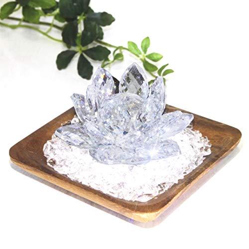 煌き クリスタルロータス 水晶チップ 浄化セット ウッドトレイ クリスタルガラス パワーストーン浄化 水晶さざれ