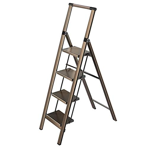 WHOJA Escalerilla Escalera Plegable de 4 peldaños Portátil con reposabrazos Adecuado para Interiores y Exteriores. Pedal Ancho 150 kg de Carga Los 48x84x140cm Ligera y Resistente (Color : Champagne)