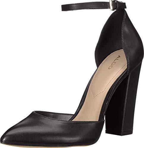 ALDO Women's Nicholes Block Heel Pump, Black Smooth, 9