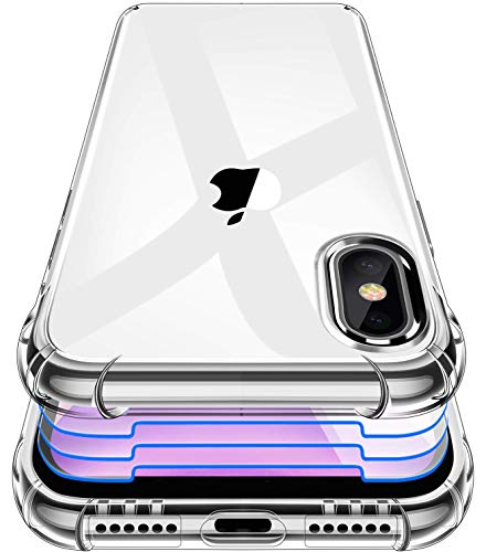 Garegce Cover Compatibile con iPhone X, iPhone XS, 3 Pezzi Vetro Temperato, Custodia Trasparente Gel Morbida Silicone Antiurto Protettiva Compatibile con iPhone X, XS-5.8 Pollici -Trasparente