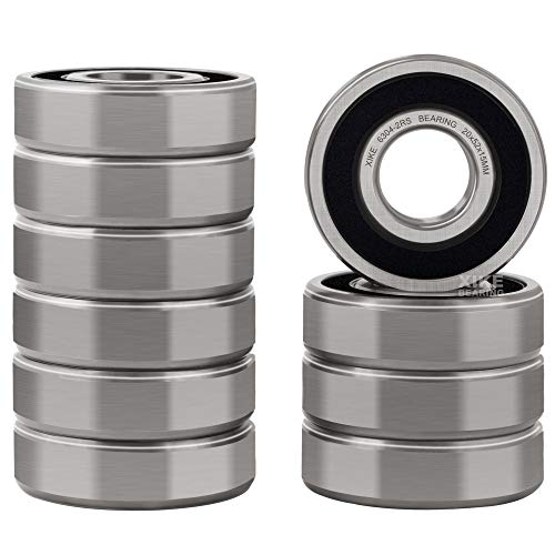 XiKe 10 Pcs 6304-2RS Double Rubber Seal Bearings 20x52x15mm, Pre-Lubricated and Stable Performance and Cost Effective, Deep Groove Ball Bearings.
