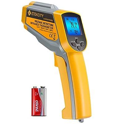 Etekcity Lasergrip 1025D Digital Dual Laser Infrared Thermometer Temperature Gun -58ºF~1022ºF (-50ºC~550ºC) with Adjustable Emissivity, Non-Contact Voltage Tester (NCV) (Renewed)