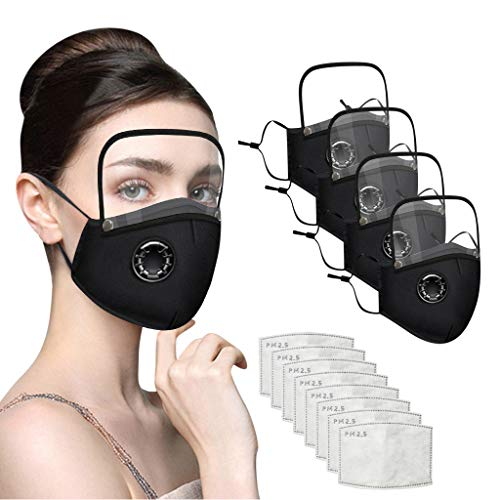 4PCS Unisex Adult Reusable Cotton Face Marks with Detachable Eye Shield,with Breathing Valve and 8pcs Filters by DBHAWK Black