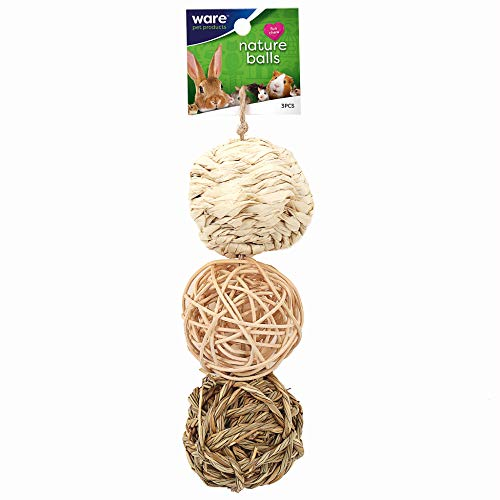 Ware Manufacturing Small Pet Nature Chew Balls Value Pack with Bell, Pack of 3