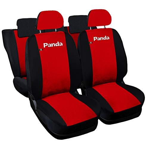 Lupex Shop Panda.014b.Rs Coprisedili compatibili, Rosso/Nero, Set di 6