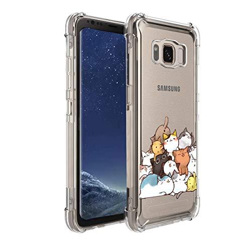 KIOMY Funda para Samsung Galaxy S8 Active para mujeres, niñas, niños, transparente con bonito diseño de gato, a prueba de golpes,...