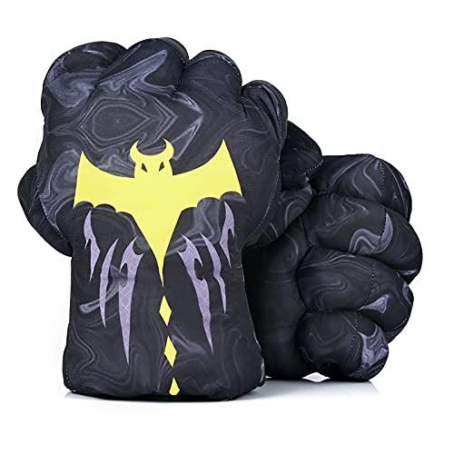 DDGOJUME Big Batman Hands, 1 Paar weiche Batman Box Handschuhe Faust Hand Plüsch Unglaubliche Geschenke (Grau)