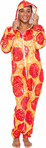 Hooded Pizza Jumpsuit - Adult Pepperoni Pizza Costume - Print Long Sleeve Zip Pajamas by Silver Lilly (Large) Red/Yellow
