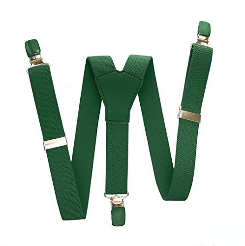 GLOSAN Tirante liso con cruce en cuero a tono verde botella 1/5 años