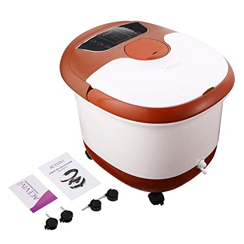 OUTCAMER Foot Spa Bath Massager with Heater, Foot Massage and Bubble Jets, Motorized Shiatsu Massage Ball and Maize Roller, Rotatable Pedicure Stone, LED Display, Relief Stress Help Sleep Home Use