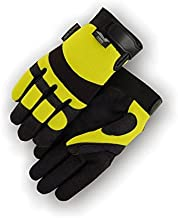Majestic 2137HY Hawk Mechanics Gloves, Armor Skin Synthetic Leather Palm & Fingers, Neoprene Knuckle, Hi-Viz Yellow & Black, Size: Large, 3 Pair