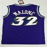 Haoshangzh55 Camisetas De Baloncesto para Hombre, Utah Jazz # 32 Karl Malone, Camiseta De Baloncesto Retro con Chaleco Deportivo, Camiseta Sin Mangas,Azul,XXL(185~190CM)