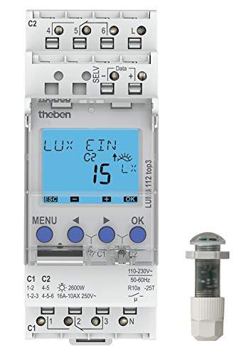 Theben 4003468110089 Luna 112 top3 EL - Interruptor crepuscular (con sensor de luz empotrable)