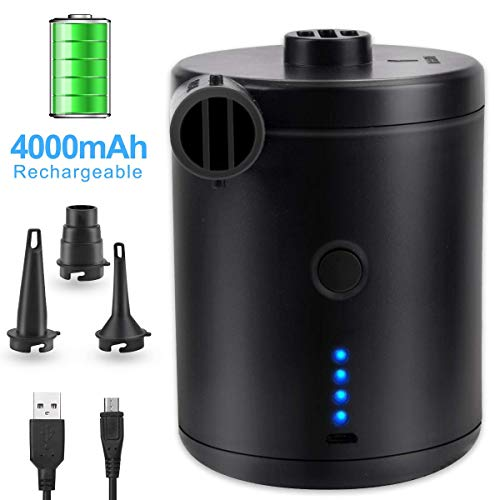 BACKTURE Elektrische Luftpumpe, USB Pumpe mit 3 Luftdüse, 2 in 1 Aufblasen und Entleeren Elektropumpe Power Pump für Aufblasbare, Luftmatratze, Matratze, Kissen,Bett, Boot, Schwimmring