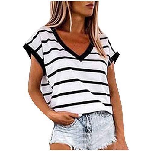 Dicomi Fashion Womens T-Shirt Casual Summer Striped Tee Cute V Neck Short Sleeve Tunic Tops White