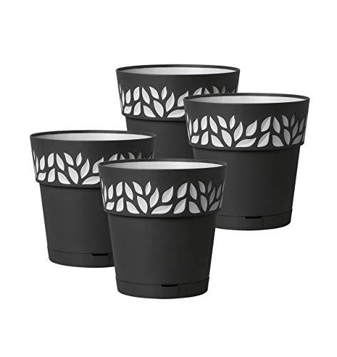 Kreher 4 Stück Pflanztöpfe CLOE Hochwertiges 3D-Design in leicht Matter Ausführung mit integrierten Wasserspeicher (S, Anthrazit)