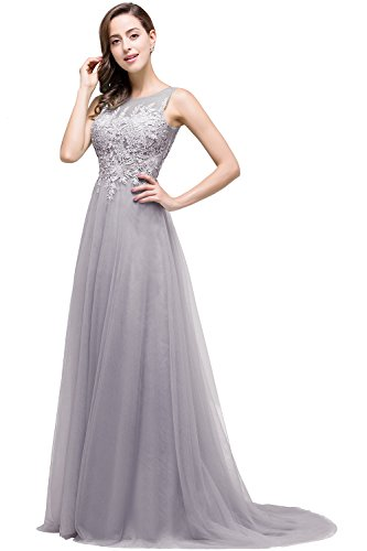 Damen Elegant Ärmellos Tüll Ballkleid mit feiner Blumenstickerei lang Rückenfrei Grau 32