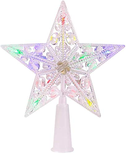 HZWLF Christmas Tree Star Topper, Multi-Colour Flash Star Light, 6 Inch Christmas Star Lights for Holiday Decorations.