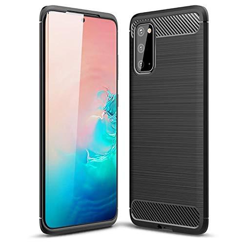 MTP-Products - Cover per Samsung Galaxy S20, in TPU spazzolato, fibra di carbonio, colore: Nero