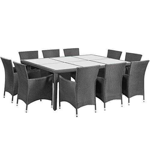 vidaXL Gartenmöbel 11-TLG. mit Auflagen Sitzgruppe Gartenset Sitzgarnitur Gartengarnitur Gartentisch Esstisch Tisch Stühle Poly Rattan Schwarz