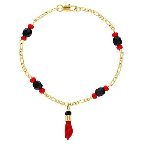 In Season Jewelry - Pulsera chapada en oro de 18 quilates con amuleto de protección contra el mal de ojo, color rojo