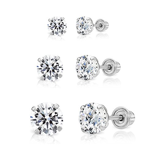 14k Gold Solitaire Round Cubic Zirconia Stud 3 Pair Earring Set (3mm, 4mm, 5mm) (white-gold)