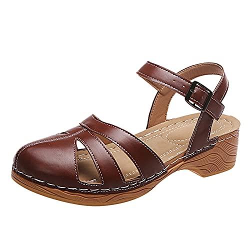 Damsandaler remsandal sandal trä sandalett stängt tå slingback sommarsandaler fritidsskor, - 3 brun brun - 40 EU