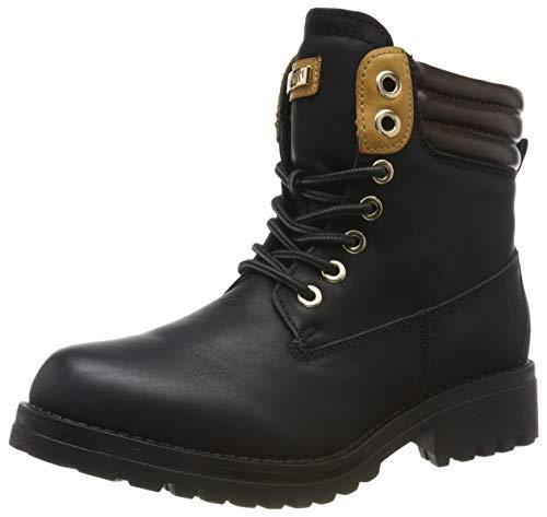 Warm Gefütterte Stiefeletten Damen Worker BootsOutdoor Winterstiefel Schnür Wildleder-Optik Schuhe 125746 Schwarz 41 Flandell