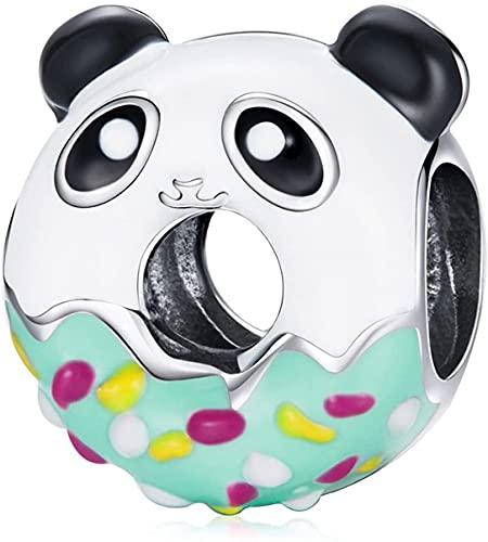 X&Z-XAOY Panda Donuts Charm Colgantes, 925 Sterling Silver Charm Bead Cae Pulseras Europeas Y Collares, Bricolaje Haciendo Joyas