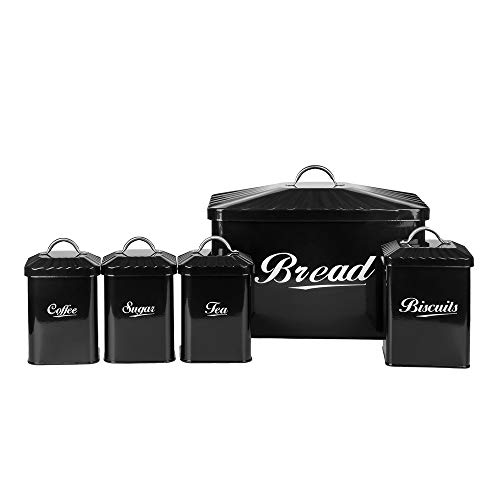 X649 Black Metal Home Kitchen Gifts Bread Bin/Box/Container Biscuit Tea Coffee Sugar Tin Canister Set