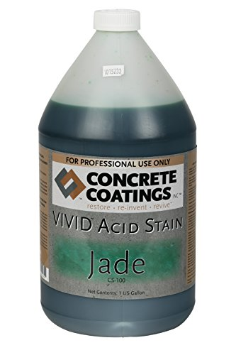 CC Concrete Coatings Vivid Acid Stain for Antique Marble Effect, Concrete Stain for Inside or Outside, Commercial or Residential Use (Jade - Deep Green, 1 Gal)