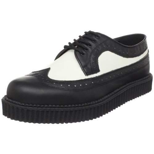 Demonia Creeper-608 Herren Brogue Schnürhalbschuhe, Schwarz (Blk-Wht Leather), 41 EU (8 Herren UK)