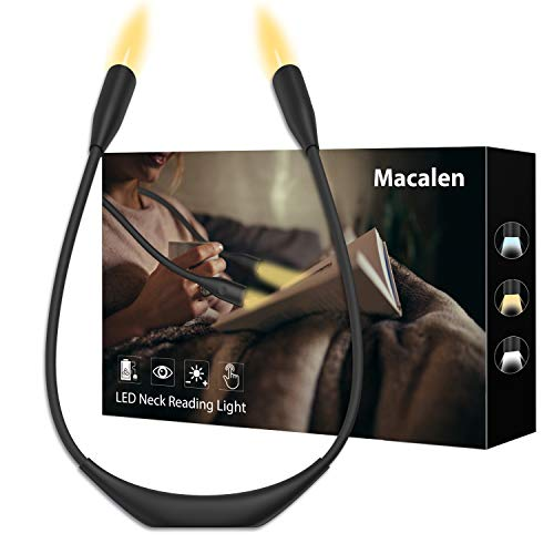 Macalen LED Book Light Neck Amber Book Light Eye Protection Reading Lights for Reading in Bed Rechargeable Reading Lamp 3 Adjustable Brightness Reading Light for Knitting Mending Crafts