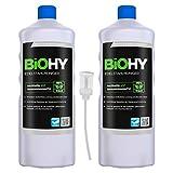 BiOHY Limpiador de acero inoxidable (2 botellas de 1 litro) + Dosificador | para el cuidado de acero inoxidable para un nuevo brillo | Protección contra manchas lubricantes (Edelstahlreiniger)