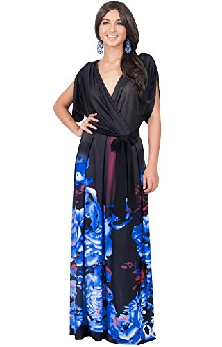 KOH KOH Womens Long V-Neck Short Sleeve Floral Print Elegant Flattering Flowy Formal Evening Cocktail Maternity Sun Gown Gowns Maxi Dress Dresses, Blue and Black L 12-14 (1)