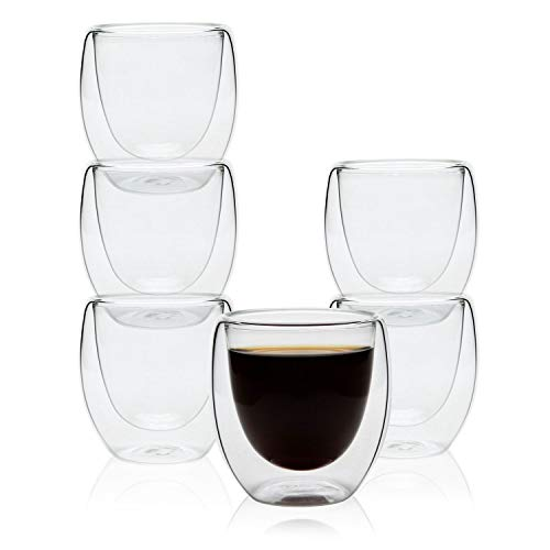 Espresso Cups Glass 2.7 OZ - Set of 6, Shot Cups Double Wall Thermo Insulated Mugs Tumblers for Hot/Cold Drink, Clear