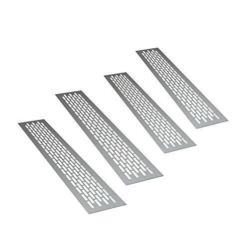 sossai® Rejillas de ventilación de aluminio - Alucratis (4 piezas)   Rectangular - dimensiones: 48 x 8 cm   Color: aluminium   rejilla de aire