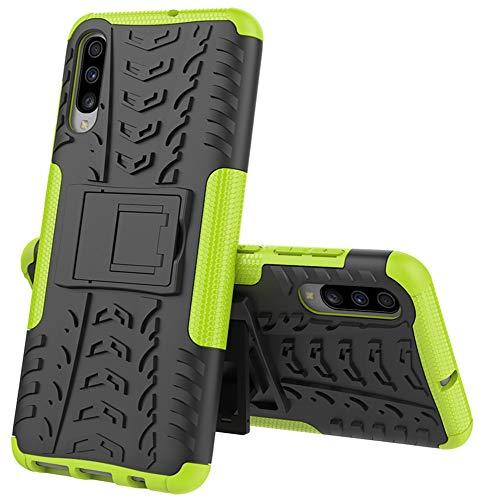 Yiakeng Funda Samsung Galaxy A70 Carcasa, Doble Capa Silicona a Prueba de Choques Soltar Protector con Kickstand Case para Samsung Galaxy A70 (Verde)