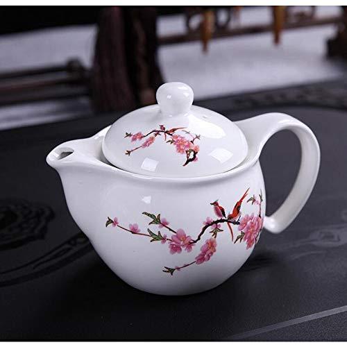 CUPWENH Traditions Chinoises Kungfu Théière Bureau De Voyage Ensemble De Thé Double Théière Ceinture Filtre en Porcelaine Tasse À Thé Bouilloire en Porcelaine
