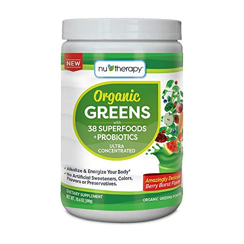 Nu-Therapy Organic Greens Superfood Powder, With probiotics, Berry Burst Flavor, 30 Servings